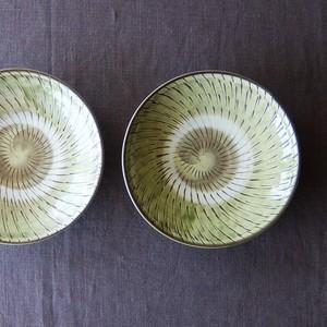 小鹿田焼 坂本工窯 - 7寸皿 - 飛び鉋 (緑)