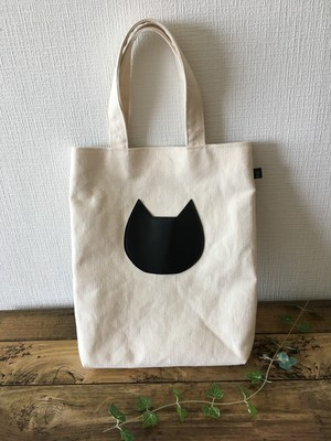 黒猫縦長トートバッグ