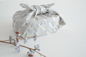 ハンカチ・お弁当包み「小枝」ライトグレー