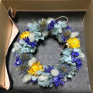 アジサイと小花のミニリース ブルー