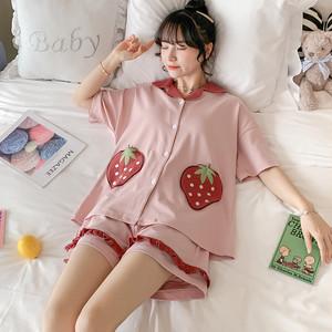 【パジャマ】2点セットシンプル切り替え半袖可愛いスウィートパジャマ28019385
