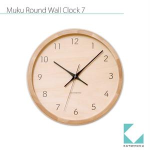KATOMOKU muku round wall clock 7 km-83 電波時計 ナチュラル