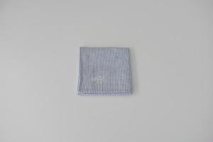 ホワイト × ブルー ロンドンストライプ リネンハンカチーフ