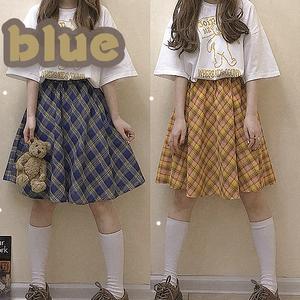 【ボトムス】夏ファッション日系チェック柄レトロスカート