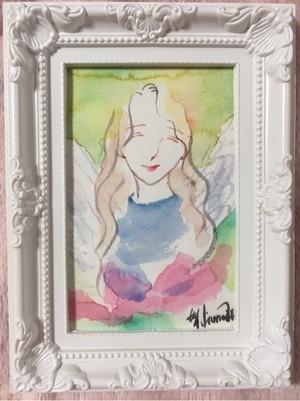 微笑む天使*額装水彩画*原画*はがきサイズ