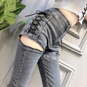 【bottoms】着痩せセクシーダメージ視線集中抜群なデザイン加工ファッションデニムパンツ24003888