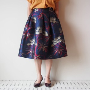 「受注製作」KABUKI Skirt -キモノチックな織り柄のスカート Lサイズ 3色から選べます!