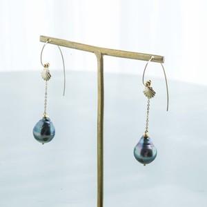 JEPUN Tahitian black pearl chain pierced earrings