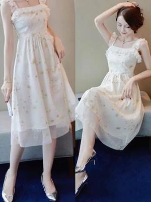 パーティードレス 結婚式 二次会 お呼ばれ ワンピース お呼ばれドレス ドレス 20代 星柄 スター 星 シースルー 透け感
