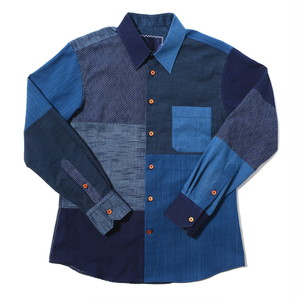 "KIRIKOMI""切込"" 武州藍染 クレイジーパネル パッチワーク ウッドボタン シャツ Bushu Aizome Crazy Panel Patchworks Shirts w/wood buttom"