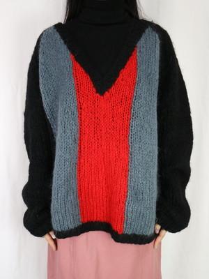 mohair v neck sweater【5368】
