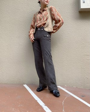 (PAL) embroidery stretch flare pants
