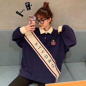 【トップス】韓国風スウィートPOLOネックバイカラーカレッジ風パーカー23038858