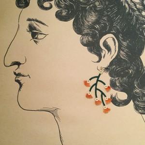 ARRO / 刺繍 / ピアス / イヤリング / BRANCED / TAN