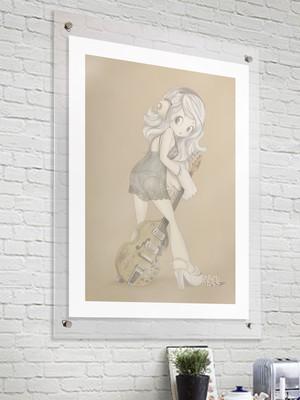 【Sullen Girl】■ジクレー版画 ■B3 ■デジタル画 ■額装込