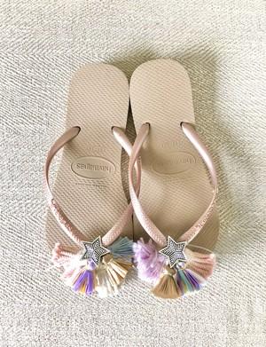 Jelly sandals colorful  (Slim gold ×Tsubaki)