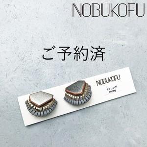 【予約済】NOBUKOFU オールレザーフリンジ イヤリング ミニ シルバー×グレー