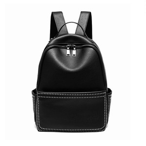 Leather Backpack Solid Bag Large Capacity Casual Black Bag (HF99-4564734)