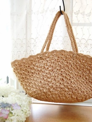 [編み物キット]クロス模様のかごバッグ