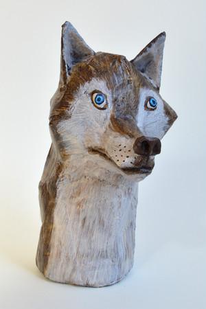 ダンボール彫刻 ちいさいシリーズ オオカミ C762
