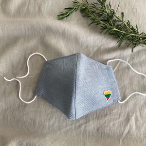 リトアニア産リネン使用 ハンドメイドマスク リトアニア国旗モチーフハートマーク付ジャカード織りライトブルー