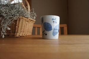 砥部焼/フリーカップ/ブルー木の葉