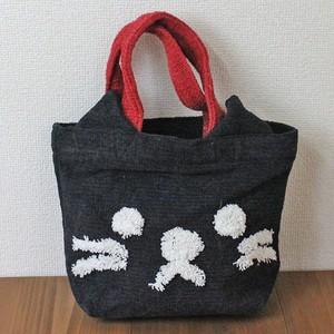 【クロネコ】ぽこもこバッグ【猫柄 猫雑貨 散歩バッグ】