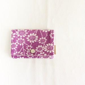 カードケース  野花プリントのリネン むらさき