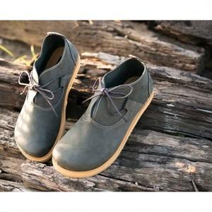 本革 クラシックデザイン ショートブーツ ハンドメイド靴(グレー)