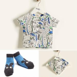 【30%OFF】【送料無料!出産祝いセット】Tシャツ/スタイ/ソックス3点セット/ブルー
