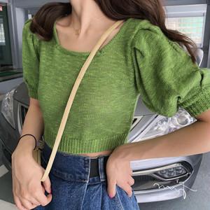 【トップス】少女系清新3色パフスリーブニットショートTシャツ