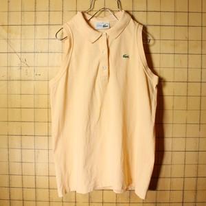 70s 80s フランス製 フレンチラコステ Lacoste ノースリーブ ポロシャツ オレンジ レディースML相当 ワンポイント ヨーロッパ古着 040721ss19