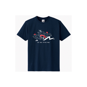 【WE RUN YOYOGI PARK Tシャツ(綿生地)】ネイビー × ホワイト