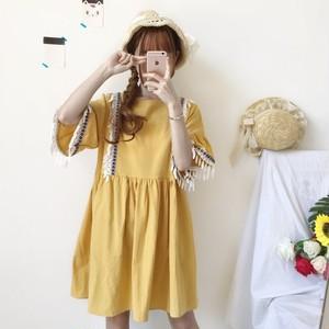【ワンピース】シンプルファッション夏穗状中袖Aラインプリントショートワンピース