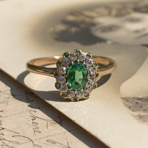 Green garnet Demantoid and Diamond ring