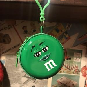 m&m's クリップ付き缶製のケース  グリーン