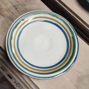 ※訳あり歪みと底切れありです!7寸リム皿(コーヒーカップソーサーの形と同じです)一枚焼き/輪描き