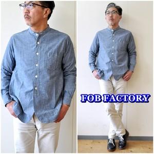 FOBFACTORY エフオービーファクトリー FOBファクトリー シャンブレー バンドカラーシャツ F3428  セルヴィッチ