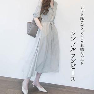 【♥即納】シンプルシャツ風ワンピース  tops1210