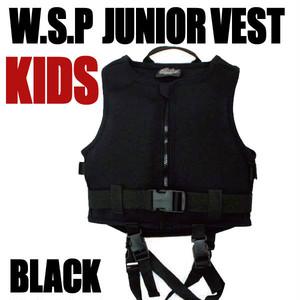 JWBA認定品 ジュニアベスト ブラック 安心補助ベルト付ライフジャケット