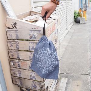 播州織ジャズネップ曼荼羅巾着 【播州織×INSTERRAプロジェクト】