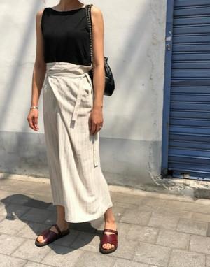 【再入荷】striped wrap skirt