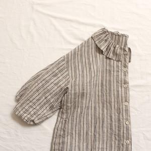 リネンフリル襟シャツ*ストライプ