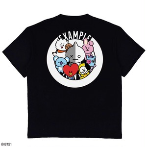 【限定受注販売】 EXAMPLE l BT21 ROUND LOGO TEE /BLACK