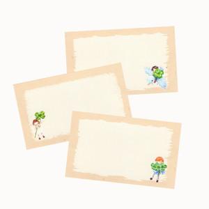 幸せを願う四つ葉のクローバーのメッセージカード(3絵柄×5枚セット)