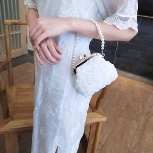 バッグ 結婚式 二次会 パーティー  シンプル がま口 ハンドバック  パール ホワイト 白 レディース   i865