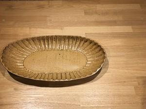 《作家名・間鍋竹士》楕円鉢(鎬・黄)
