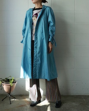 aqua blue hooded coat