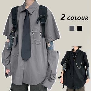 【トップス】超人気韓国系POLOネック金属飾り透かし彫りシングルブレストシャツ41489760