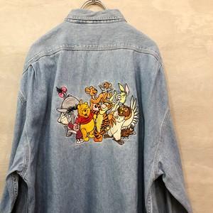 プーさん デニム刺繍 長袖シャツ  #1400